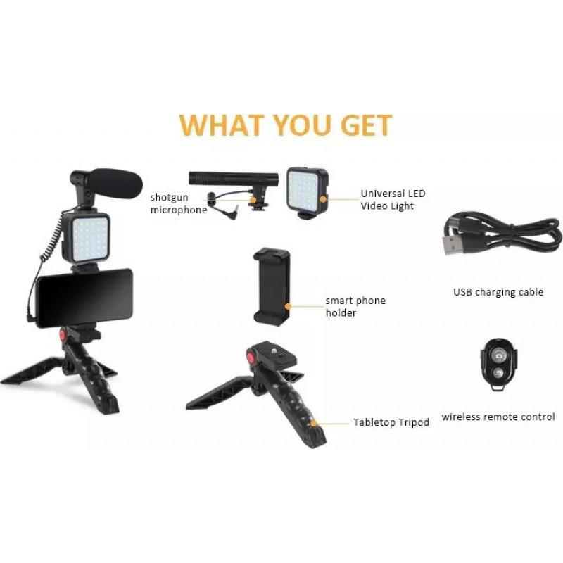 oem - IRiSfot Vlogging Kit με Τρίποδο ,Μικρόφωνο και Φωτιστικό Led KIT-01LM