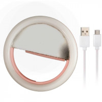 Kunla LED Selfie Ring Light με USB και καθρέφτη - Pink [KL-HK88-P]