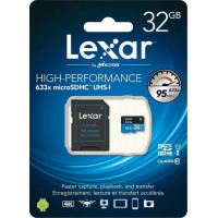 Lexar High-Performance 633x microSDHC 32GB U1 with Adapter