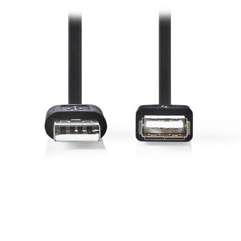 Nedis Καλώδιο - προέκταση USB 2.0 A αρσ. - USB A θηλ., 1.0 m. [CCGP60010BK10]