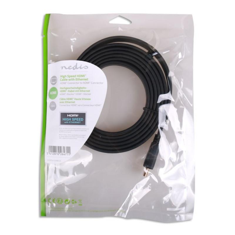 Nedis Flat Καλώδιο HDMI υψηλής ταχύτητας με Εthernet, 2m [CVGP34100BK20]