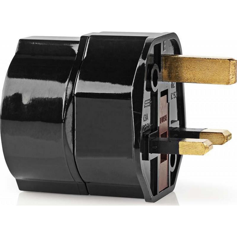 NEDIS TRAV01BL Αντάπτορας πρίζας, 3 pin (αγγλικό) σε schuko - Black