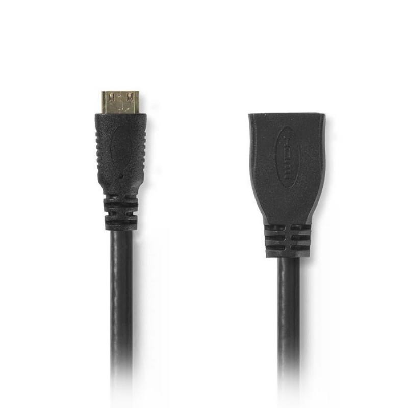 Nedis CVGP34590BK02 Καλώδιο Mini HDMI αρσ. - HDMI θηλ. 0.2m