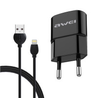 Awei C-832 Lightning Cable & USB Wall Adapter - Μαύρο