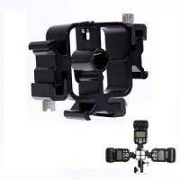 AccPro Triple Hot Shoe Mount Adapter Flash Light Stand Umbrella Holder Bracket [LS-16]